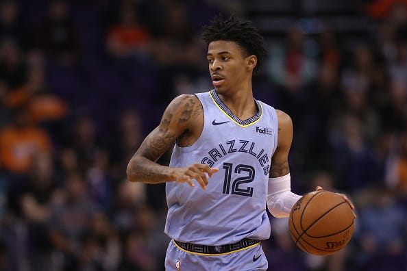 Ja Morant brings the ball up for the Memphis Grizzlies.