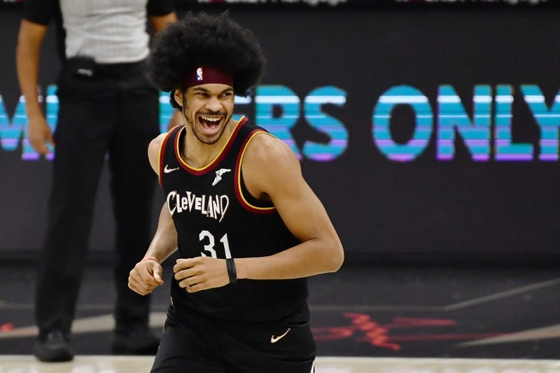 Cleveland Cavaliers center Jarrett Allen reacts after a dunk during the third quarter against the Brooklyn Nets at Rocket Mortgage FieldHouse.