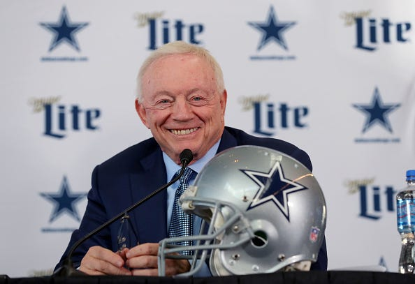 Dallas Cowboys owner Jerry Jones speaks at a press conference.