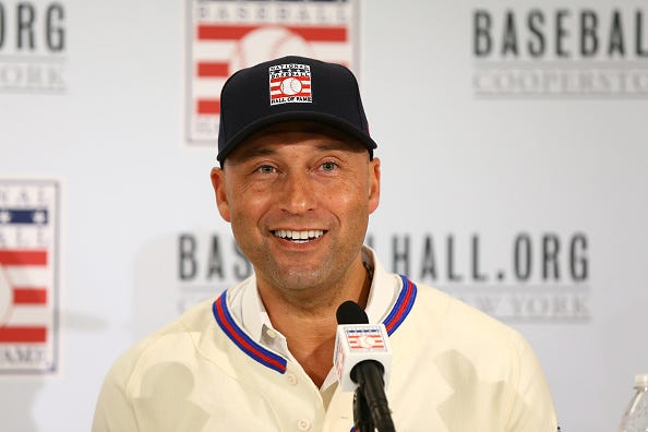 Derek Jeter speaks after he is voted into the Baseball Hall of Fame.