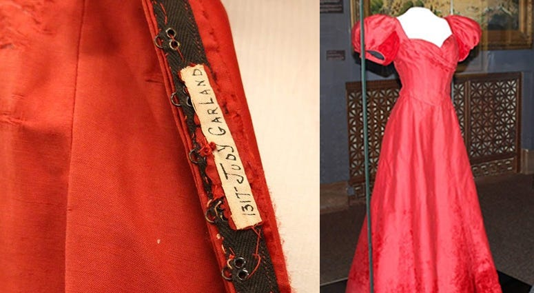 A dress worn by Judy Garland in Meet Me in St. Louis is on display