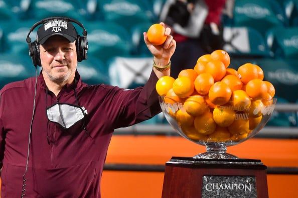 Jimbo Fisher celebrates winning the Orange Bowl.