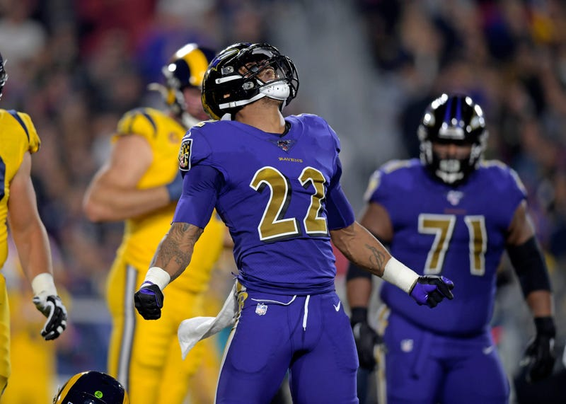 Jimmy Smith reacts after sacking Jared Goff.