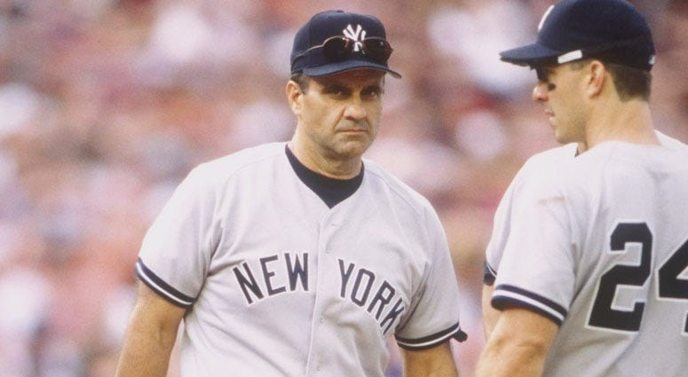 Joe Torre manages the Yankees in 1998.