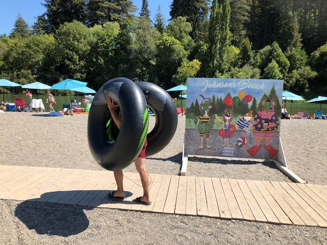 Tourists at Johnson's Beach in Guerneville