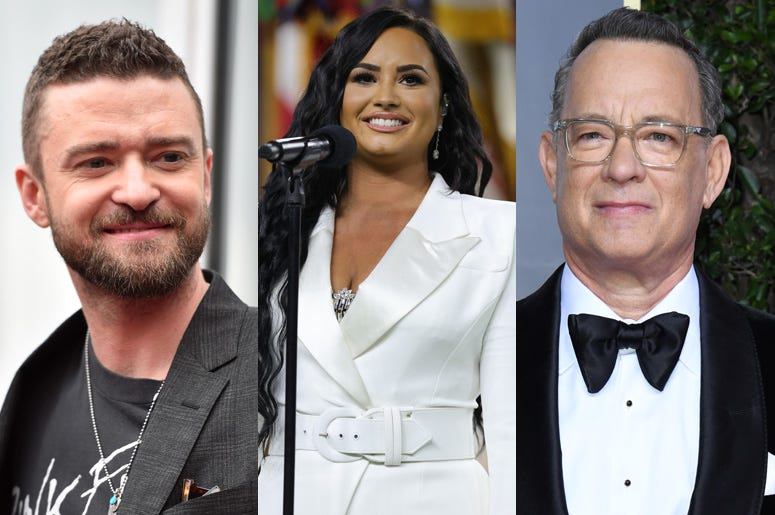 Justin Timberlake, Demi Lovato, and Tom Hanks