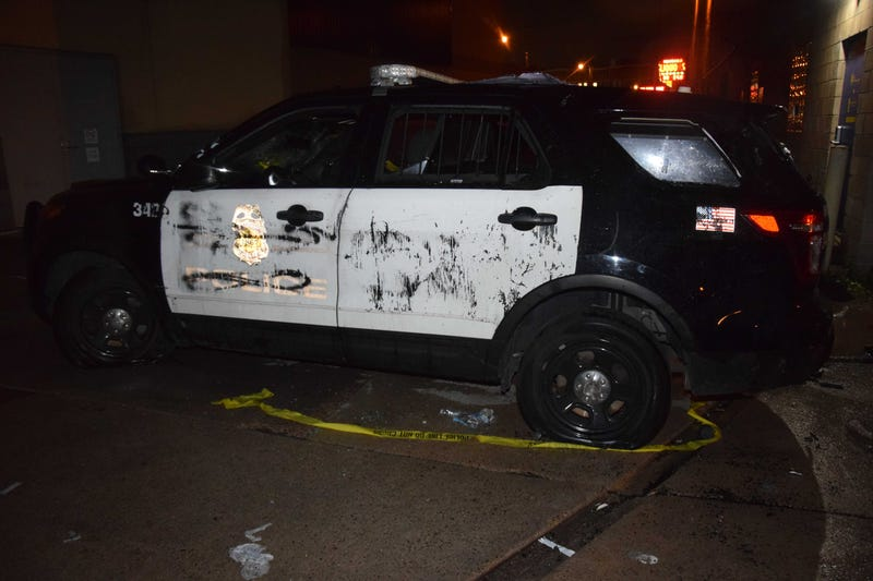 Minneapolis Police Truck damaged