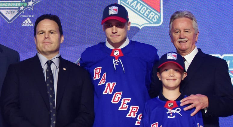Kaapo Kakko poses for a photo after being selected as the No. 2 overall pick to the New York Rangers in the first round of the 2019 NHL Draft at Rogers Arena in Vancouver, British Columbia.