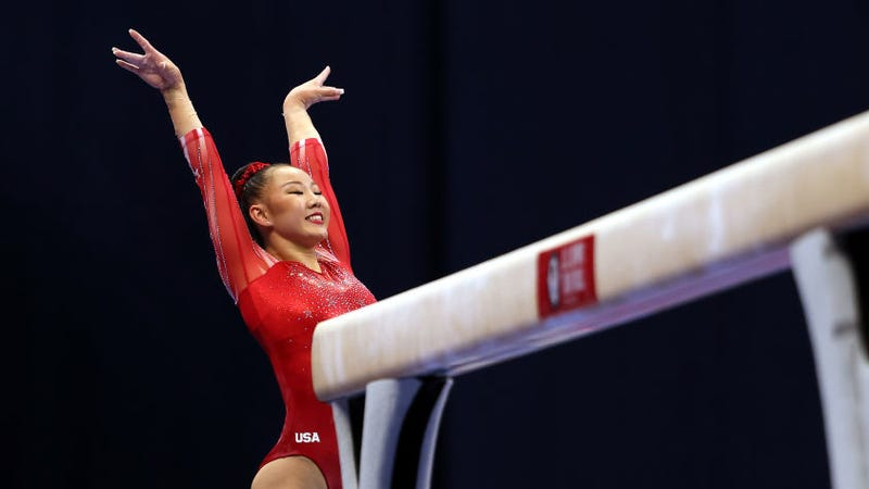 Kara Eaker smiles after landing her dismount off the balance beam during the Women's competition of the 2021 U.S. Gymnastics Olympic Trials at America's Center on June 25, 2021 in St Louis, Missouri.