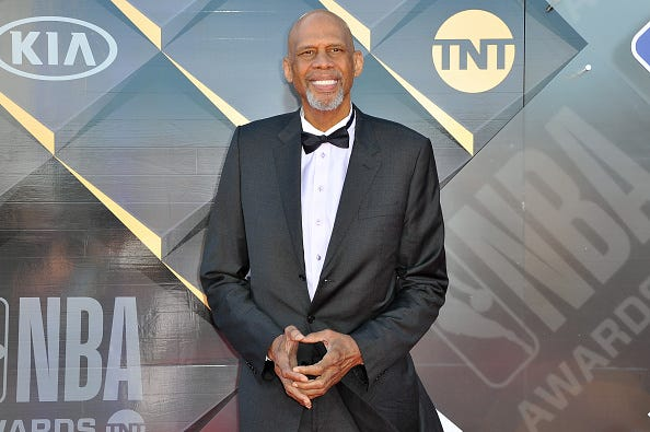 Kareem Abdul-Jabbar at the 2018 NBA Awards show.