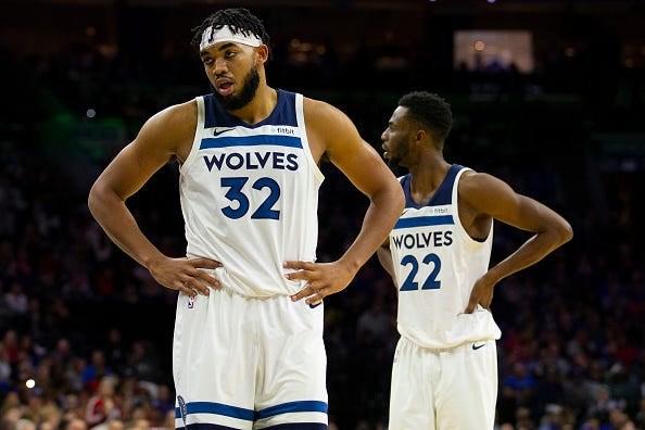 Karl-Anthony Towns looks on in frustration with the Timberwolves.