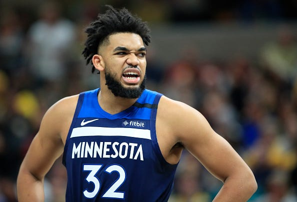 Karl-Anthony Towns reacts during a game with the Timberwolves.