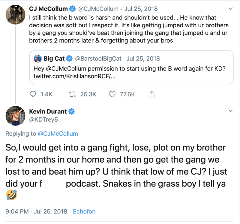 Kevin Durant responds to CJ McCollum's criticism on Twitter.