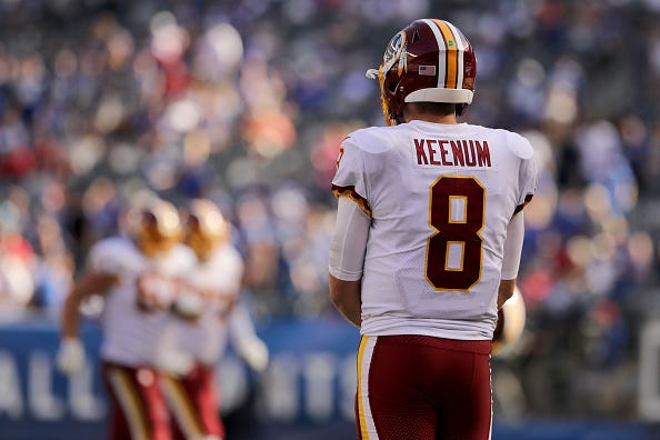 Redskins QB Case Keenum watches from the sideline in Week 4 against the Giants.