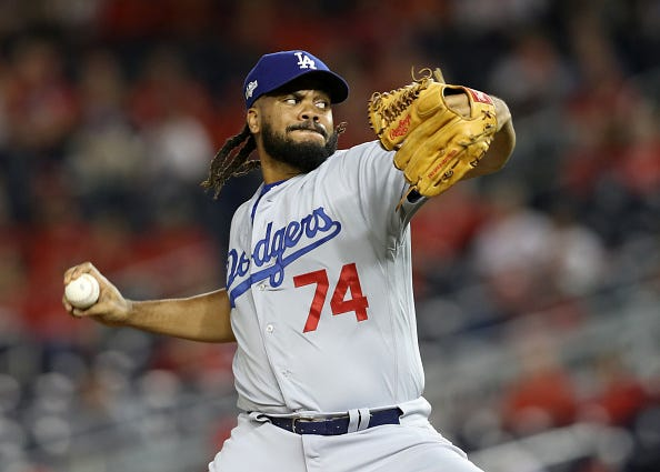 Kenley Jansen closes out a game for the Dodgers in 2019.