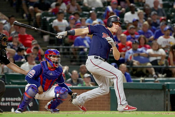 Max Kepler connects for a hit against the Texas Rangers.