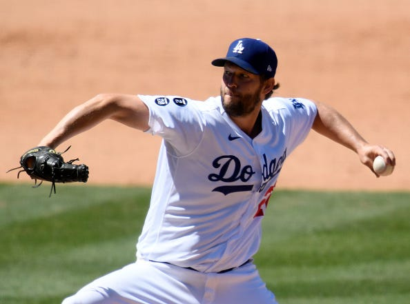 Clayton Kershaw pitches for the Dodgers