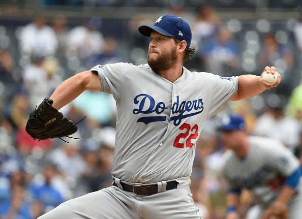 Clayton Kershaw pitches against the San Diego Padres in September.