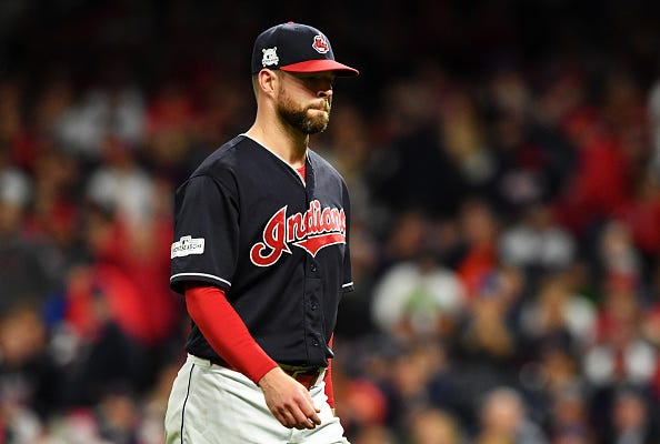 Indians pitcher Corey Kluber leaves the mound in Game 5 of the 2017 NLDS.