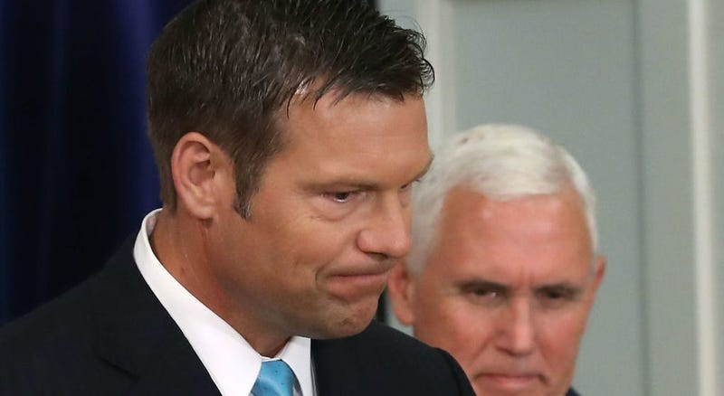 FILE PHOTO:  Then KS sec'y of state Kris Kobach at a meeting in DC with VP Pence