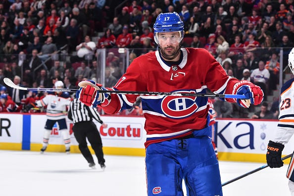 Ilya Kovalchuk glances across the ice during a game with the Canadiens.
