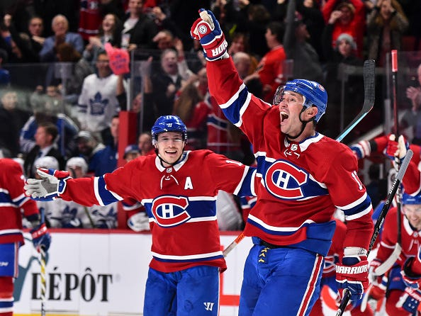 Ilya Kovalchuk celebrates a goal with the Canadiens.