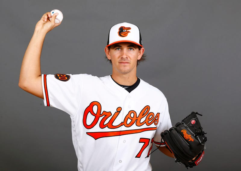 Orioles RHP Dean Kremer poses at Orioles Media Day