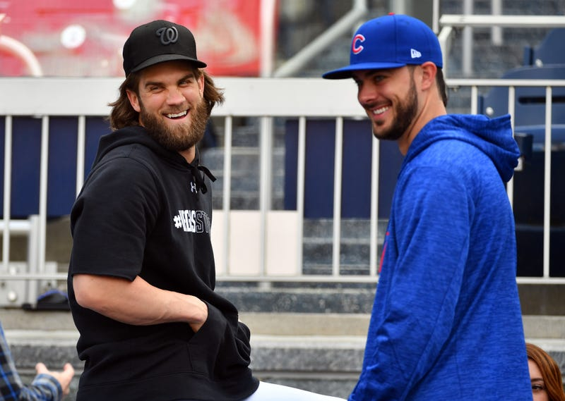 Kris Bryant hangs out with friend Bryce Harper.
