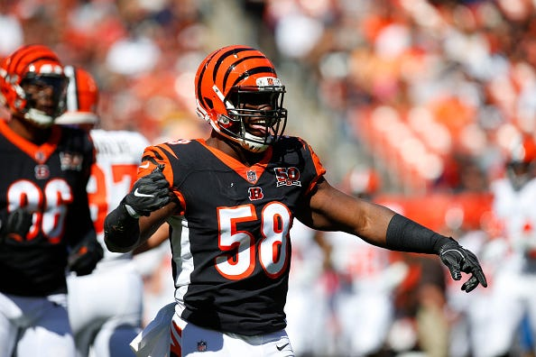 Carl Lawson celebrates a sack for the Bengals.
