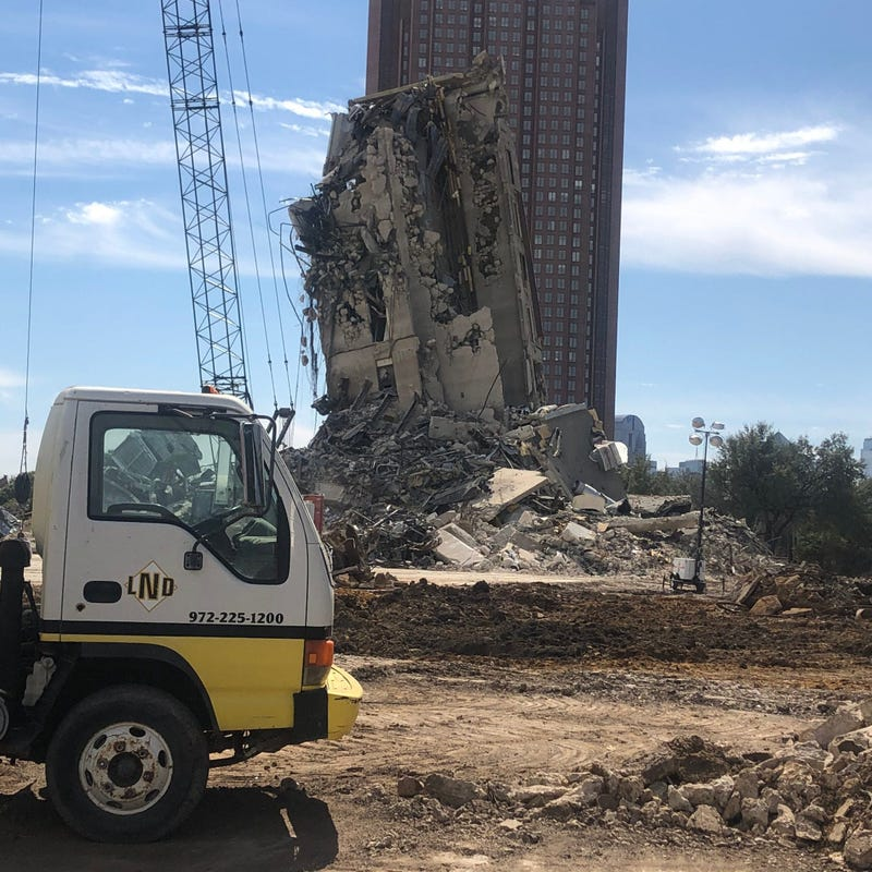 Leaning Tower of Dallas on its final day of destruction