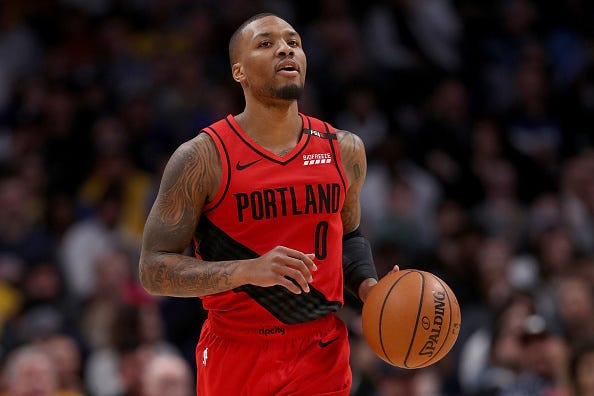 Damian Lillard brings the ball up against the Nuggets in Jan. 2019.