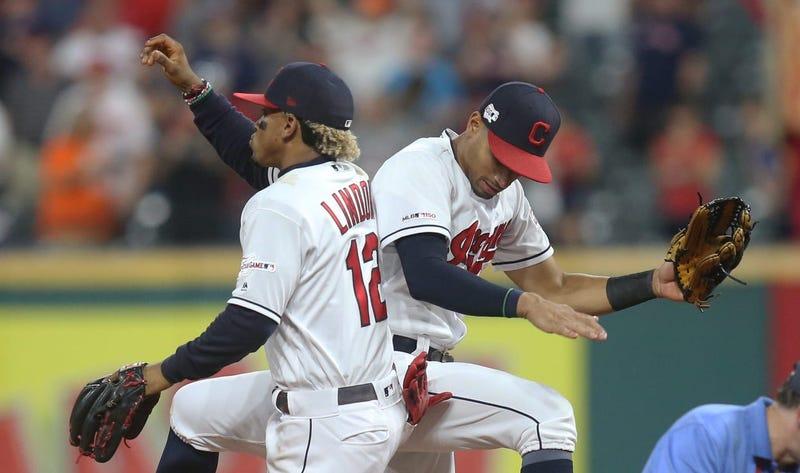 Indians shortstop Francisco Lindor and center fielder Oscar Mercado