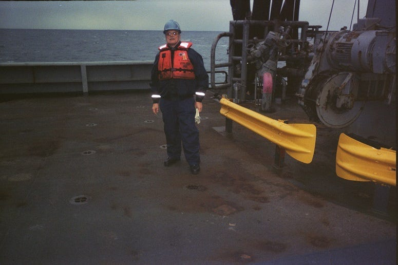 Blue Water Navy Vietnam veteran Lloyd Granaas aboard a military sea lift command ship