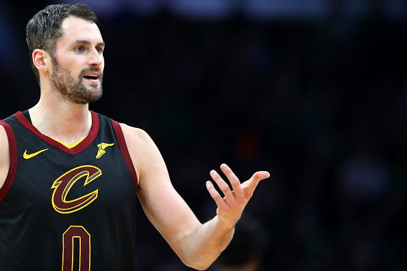 Kevin Love reacts to a call against the Cavaliers.