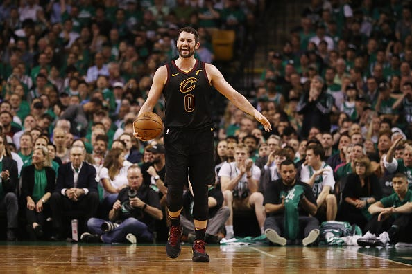 Kevin Love reacts to a call against the Celtics.