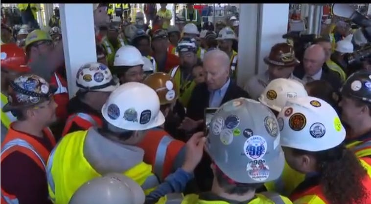 Joe Biden yells at factory worker in Detroit