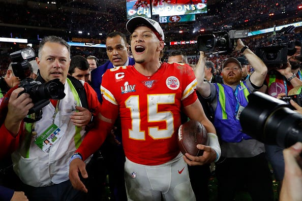 Chiefs QB Patrick Mahomes celebrates winning Super Bowl LIV.
