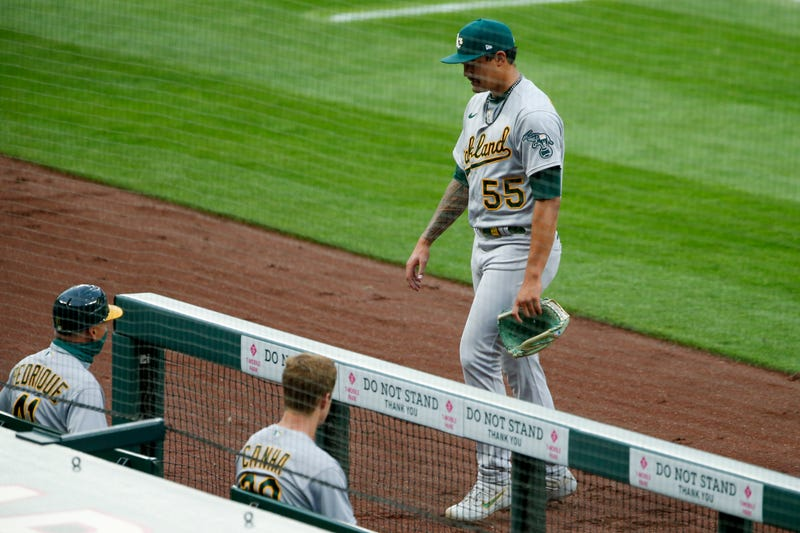 Sean Manaea heads back to the dugout after a start with the A's.