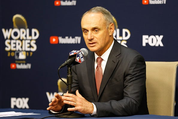 Rob Manfred speaks at a press conference before the 2017 World Series
