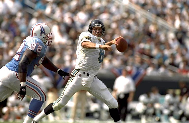 Mark Brunell playing for the jacksonville jaguars