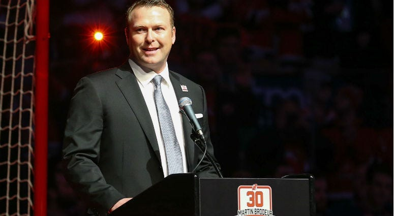 Martin Brodeur addresses the crowd at his number retirement ceremony before the start of the NHL game between the New Jersey Devils and the Edmonton Oilers at Prudential Center.