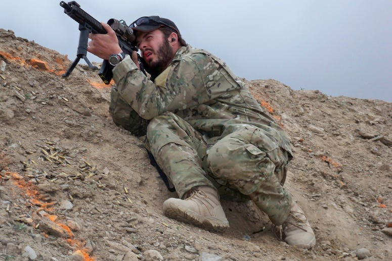 Williams on a range in Afghanistan