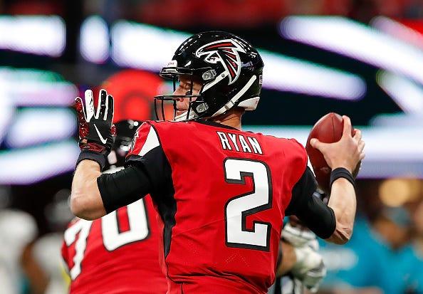 Matt Ryan winds up as he eyes a Falcons receiver down field.