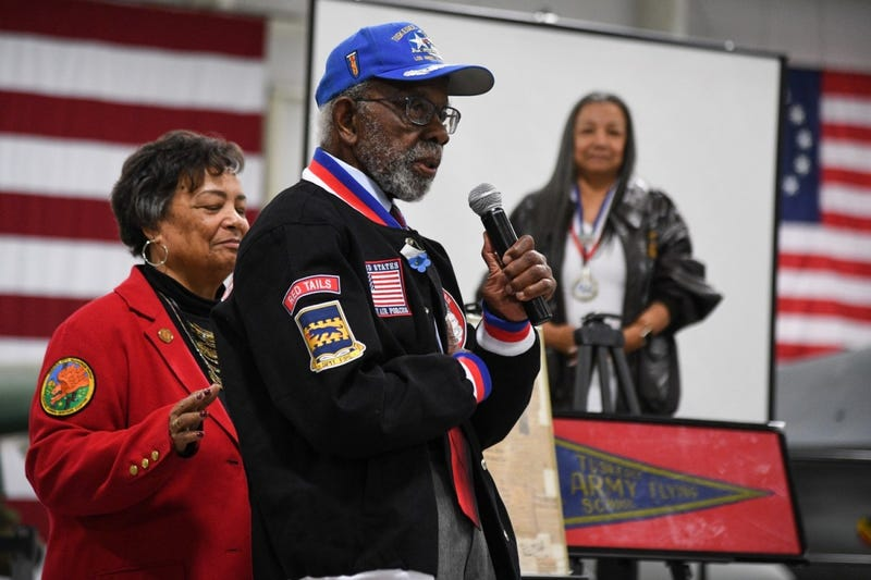 Tuskegee Airman Theodore Lumpkin speaks during a visit to Hill Air Force Base, Utah, April 20, 2018. Lumpkin served as an intelligence officer assigned to the 332nd Fighter Group during World War II. Last month, Lumpkin died from COVID-19 in Los Angeles at age 100. (R. Nial Bradshaw)