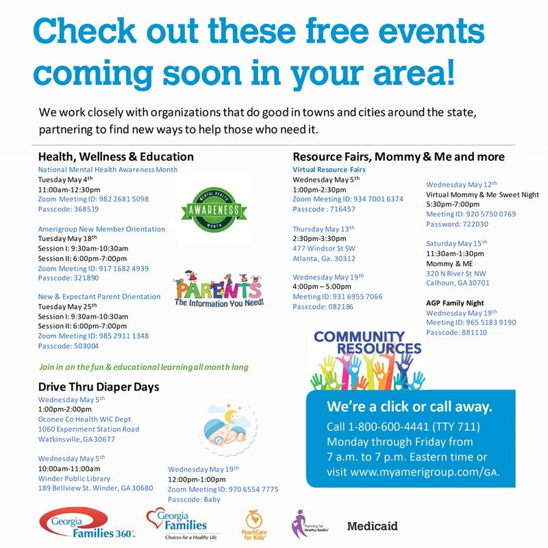Amerigroup Community Care Events for May