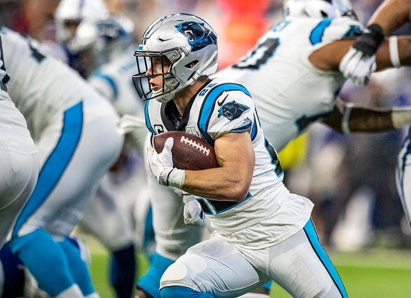 Christian McCaffrey looks for room to run behind the Panthers' offensive line.