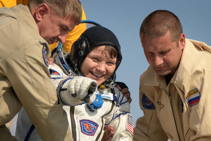 U.S. Army astronaut Lt. Col. Anne McClain exits the Soyuz MS-11 spacecraft