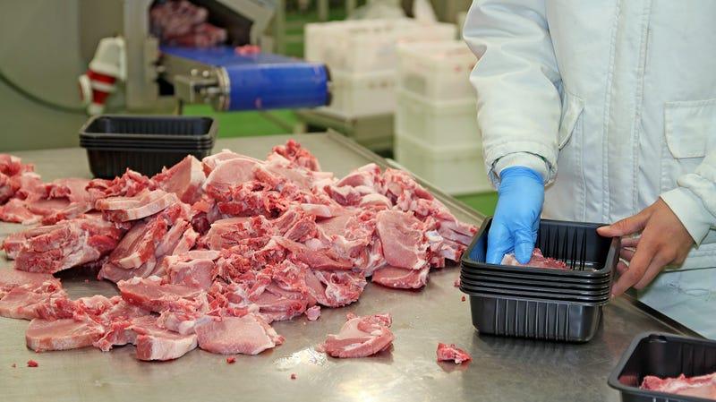 Fresh raw pork chops in meat factory