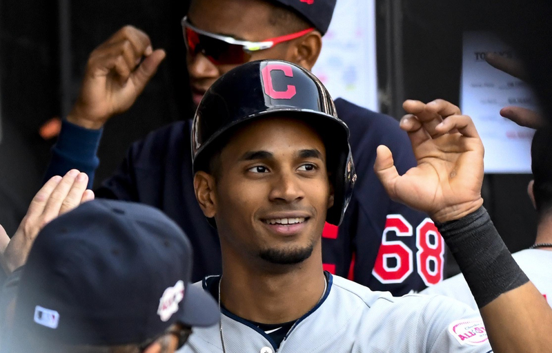 May 14, 2019; Chicago, IL, USA; Cleveland Indians left fielder Oscar Mercado (35) celebrates in the dugout after scoring in the eighth inning against the Chicago White Sox at Guaranteed Rate Field. Mandatory Credit: Matt Marton-USA TODAY Sports