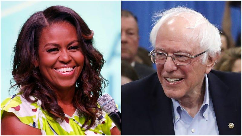 Michelle Obama (left) / Bernie Sanders (right)